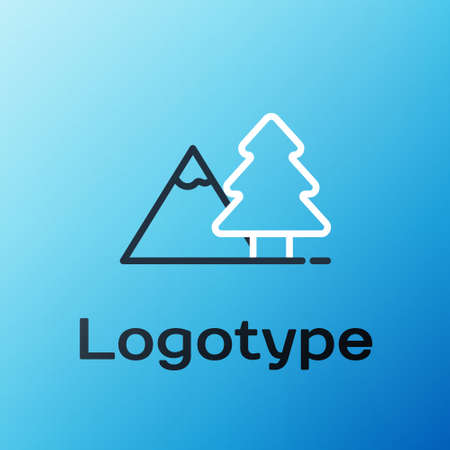 Line Mountains with tree icon isolated on blue background. Symbol of victory or success concept. Colorful outline concept. Vector