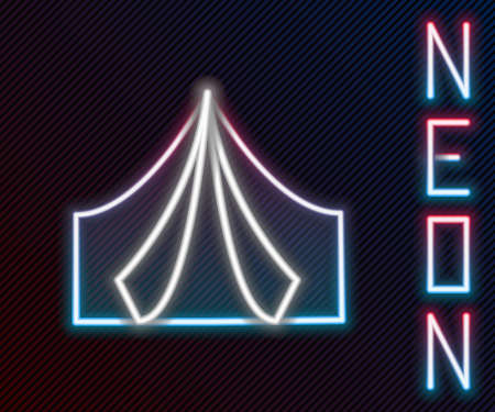 Glowing neon line Tourist tent icon isolated on black background. Camping symbol. Colorful outline concept. Vector