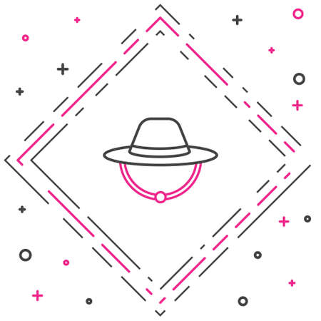 Line Camping hat icon isolated on white background. Beach hat panama. Explorer travelers hat for hunting, hiking, tourism. Colorful outline concept. Vector