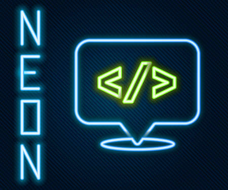 Glowing neon line Web design and front end development icon isolated on black background. Colorful outline concept. Vector Illustration