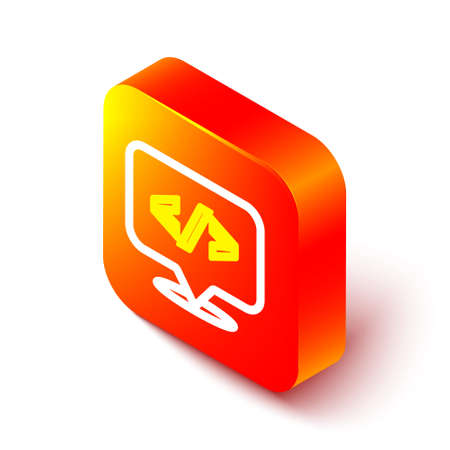 Isometric line Web design and front end development icon isolated on white background. Orange square button. Vector