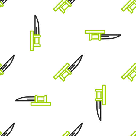Line Bayonet on rifle icon isolated seamless pattern on white background. Vector