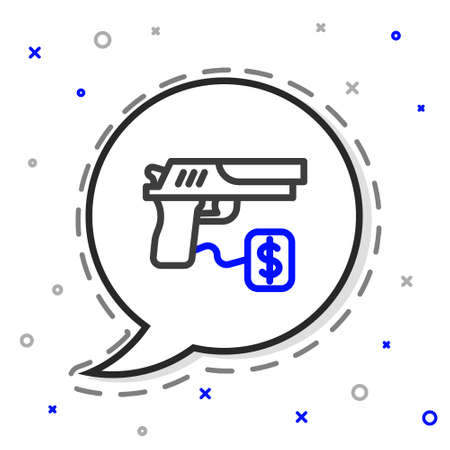 Line Buying gun pistol with price tag icon isolated on white background. Buying weapon. Colorful outline concept. Vector 向量圖像