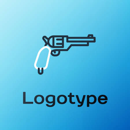 Line Revolver gun icon isolated on blue background. Colorful outline concept. Vector