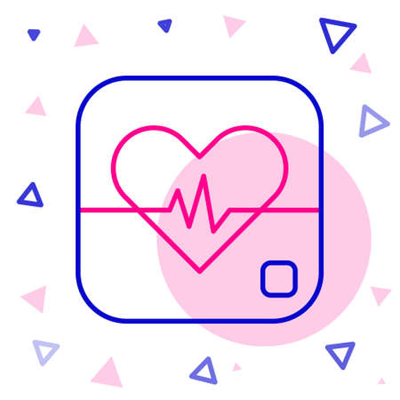 Line Heart rate icon isolated on white background. Heartbeat sign. Heart pulse icon. Cardiogram icon. Colorful outline concept. Vector 向量圖像