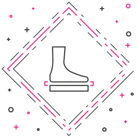Line Flat foot icon isolated on white background. Colorful outline concept. Vector