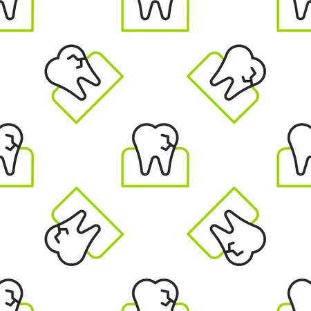 Line Tooth with caries icon isolated seamless pattern on white background. Tooth decay. Vector 矢量图像