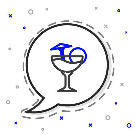 Line Cocktail and alcohol drink with umbrella icon isolated on white background. Colorful outline concept. Vector