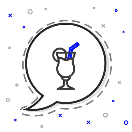 Line Cocktail and alcohol drink icon isolated on white background. Colorful outline concept. Vector