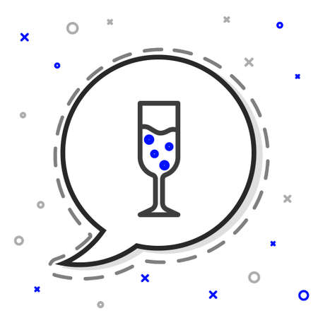 Line Glass of champagne icon isolated on white background. Colorful outline concept. Vector