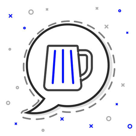 Line Wooden beer mug icon isolated on white background. Colorful outline concept. Vector 向量圖像