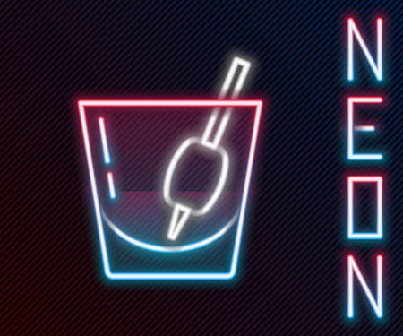 Glowing neon line Cocktail Bloody Mary icon isolated on black background. Colorful outline concept. Vector