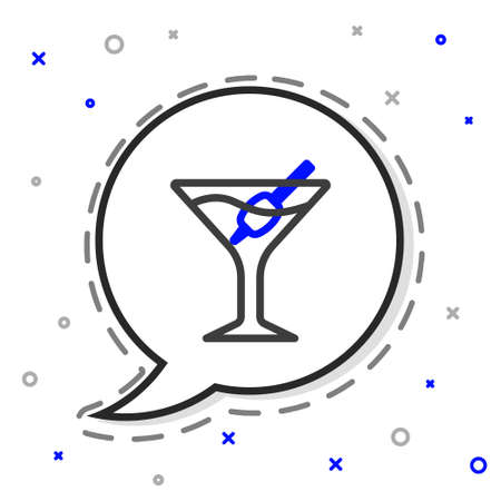 Line Martini glass icon isolated on white background. Cocktail icon. Wine glass icon. Colorful outline concept. Vector