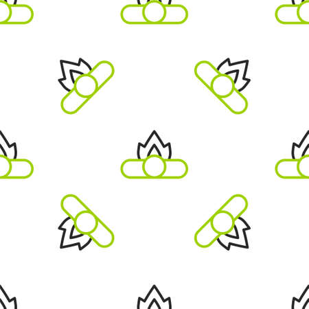 Line Campfire icon isolated seamless pattern on white background. Burning bonfire with wood. Vector Illustration