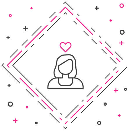 Line Romantic girl icon isolated on white background. Happy Valentines Day. Colorful outline concept. Vector