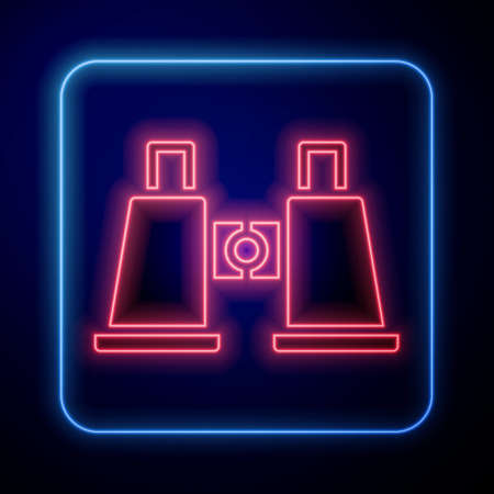 Glowing neon Binoculars icon isolated on blue background. Find software sign. Spy equipment symbol. Vector 矢量图像