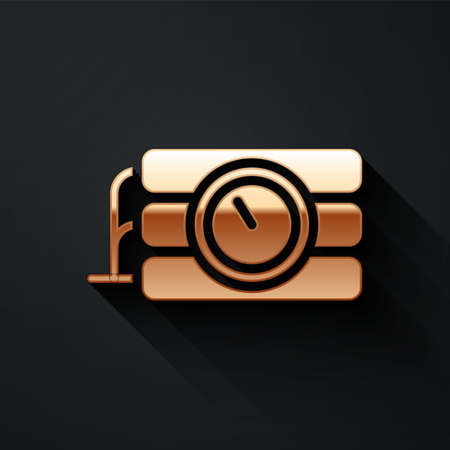 Gold Detonate dynamite bomb stick and timer clock icon isolated on black background. Time bomb - explosion danger concept. Long shadow style. Vector