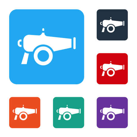 White Cannon icon isolated on white background. Set icons in color square buttons. Vector