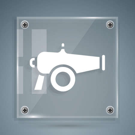 White Cannon icon isolated on grey background. Square glass panels. Vector