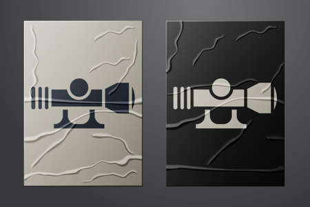 White Sniper optical sight icon isolated on crumpled paper background. Sniper scope crosshairs. Paper art style. Vector