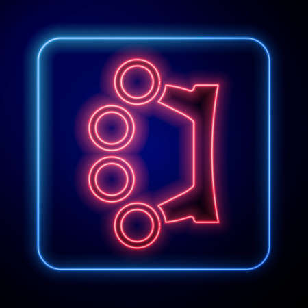 Glowing neon Brass knuckles icon isolated on blue background. Vector