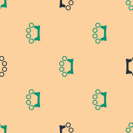 Green and black Brass knuckles icon isolated seamless pattern on beige background. Vector Archivio Fotografico - 157243316