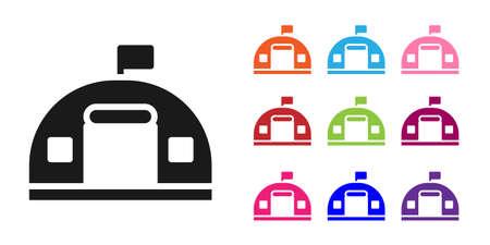 Black Military barracks station icon isolated on white background. Airstrikes architecture army. Set icons colorful. Vector Illusztráció