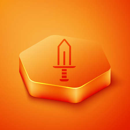 Isometric Sword icon isolated on orange background. Medieval weapon. Orange hexagon button. Vector