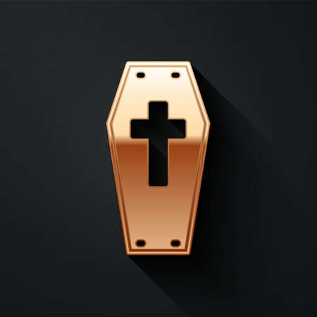 Gold Coffin with christian cross icon isolated on black background. Happy Halloween party. Long shadow style. Vector