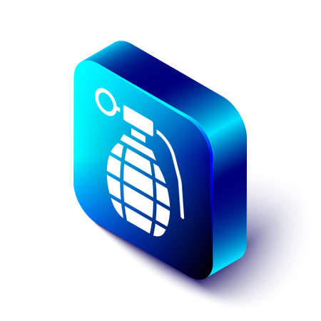 Isometric Hand grenade icon isolated on white background. Bomb explosion. Blue square button. Vector