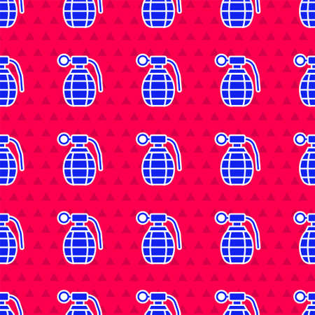 Blue Hand grenade icon isolated seamless pattern on red background. Bomb explosion. Vector