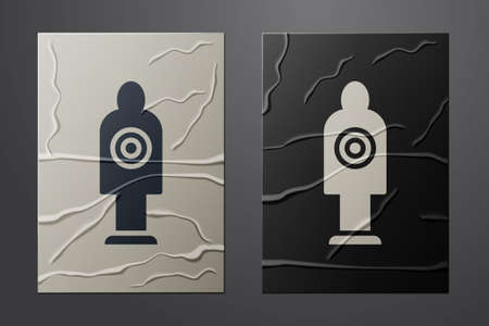 White Human target sport for shooting icon isolated on crumpled paper background. Clean target with numbers for shooting range or shooting. Paper art style. Vector