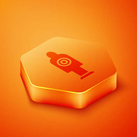 Isometric Human target sport for shooting icon isolated on orange background. Clean target with numbers for shooting range or shooting. Orange hexagon button. Vector Ilustração