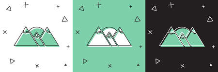 Set Mountains icon isolated on white and green, black background. Symbol of victory or success concept. Vector Ilustrace