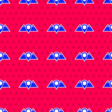 Blue Location mountains icon isolated seamless pattern on red background. Symbol of victory or success concept. Vector