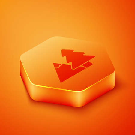 Isometric Mountains with tree icon isolated on orange background. Symbol of victory or success concept. Orange hexagon button. Vector