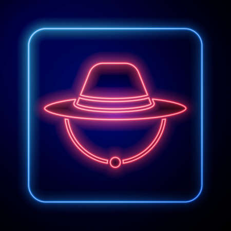 Glowing neon Camping hat icon isolated on blue background. Beach hat panama. Explorer travelers hat for hunting, hiking, tourism. Vector Illusztráció