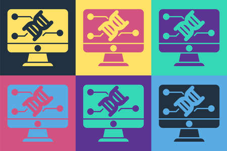 Pop art Genetic engineering modification on monitor icon isolated on color background. DNA analysis, genetics testing, cloning. Vector