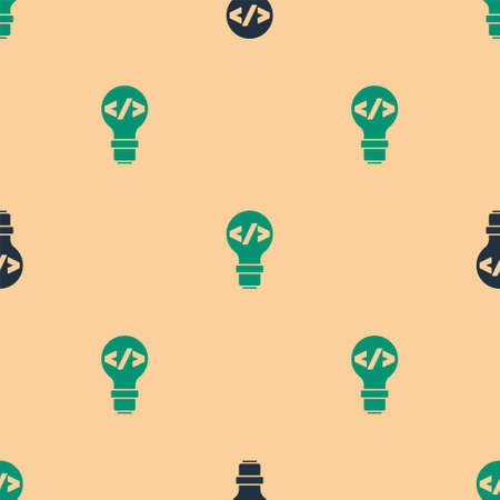 Green and black Web design and front end development icon isolated seamless pattern on beige background. Vector