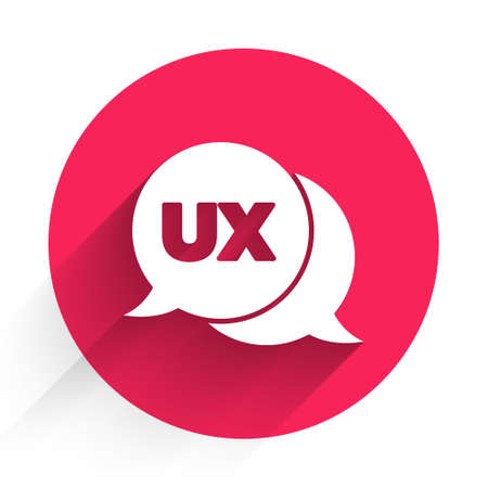 White UI or UX design icon isolated with long shadow. Red circle button. Vector