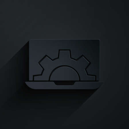 Paper cut Software, web development, programming concept icon isolated on black background. Programming language and program code on screen laptop. Paper art style. Vector