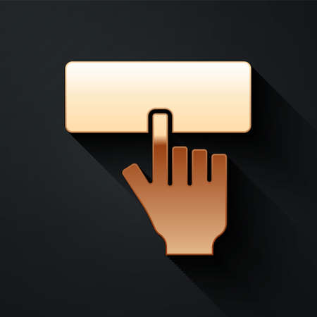 Gold Computer keyboard icon isolated on black background. PC component sign. Long shadow style. Vector Vettoriali