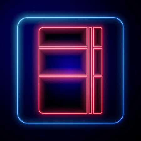 Glowing neon Sketchbook or album icon isolated on blue background. Vector