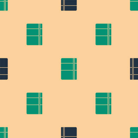Green and black Sketchbook or album icon isolated seamless pattern on beige background. Vector