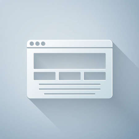 Paper cut UI or UX design icon isolated on grey background. Paper art style. Vector Vettoriali