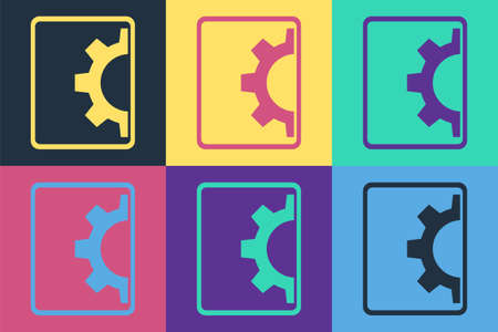 Pop art Software, web development, programming concept icon isolated on color background. Programming language and program code on screen tablet. Vector