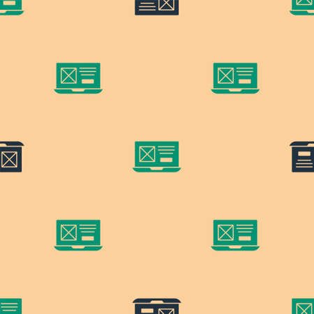 Green and black UI or UX design icon isolated seamless pattern on beige background. Vector Vettoriali