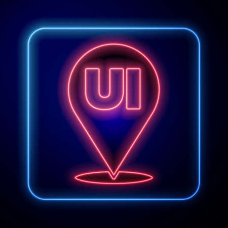 Glowing neon UI or UX design icon isolated on blue background. Vector