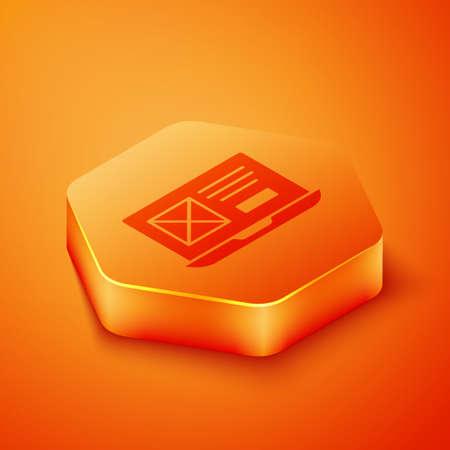 Isometric UI or UX design icon isolated on orange background. Orange hexagon button. Vector
