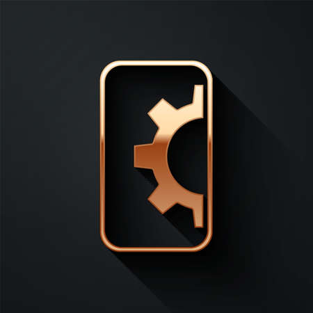Gold Software, web development, programming concept icon isolated on black background. Programming language and program code on screen mobile. Long shadow style. Vector